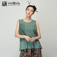 Jiqiuguer 2015 ladies new design fashion top summer print sleeveless t-shirt fashion o-neck pullover t-shirt gather hem t-shirt