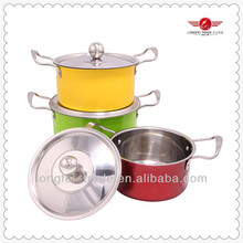 3pcs stainless steel colour cookware set