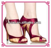Fashion brand ladies satin open toe high heel sandal summer sexy shoes