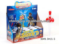 Children promotional gift candy plastic tube toy sword with flashing light