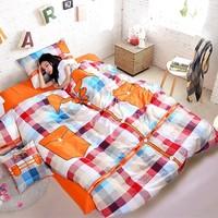 Plaid shirt design contain special quilt cover warm color home sense bedding