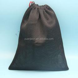 custom made black travel bag mesh drawstring bag for tennis ball with drawstring and spring botton