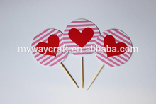 eco-friendly red rose die cut wedding paper cake topper/cupcake topper