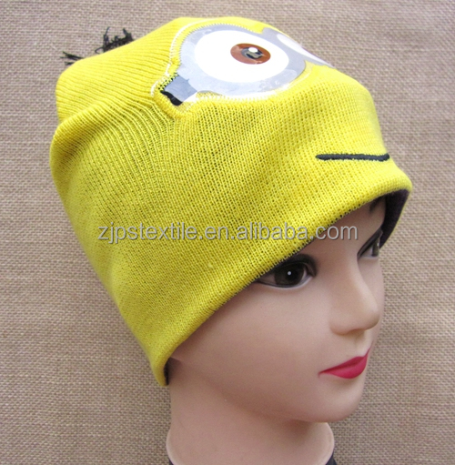 cartoon beanie minion knitted hat acrylic promotional cap