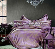 Contemporary and romantic super king size purple polyester damask bedding set