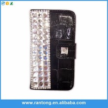 2015 new products pu wallet case with diamond case for iphone 5