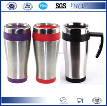 Eco-friendly16oz custom double wall coffee travel mug with handle or stainless steel thermos coffee travel mug/tumbler