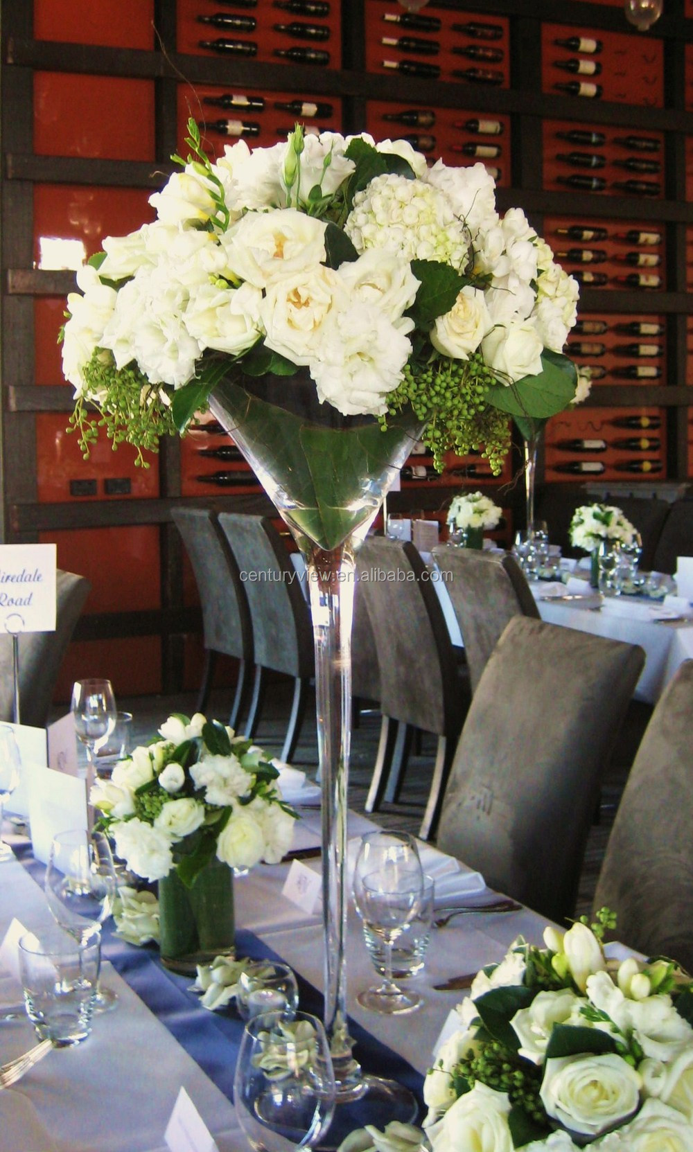 Long stemmed wholesale martini glass vases centerpieces