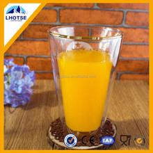 12oz Customerized Wholesale Double Wall Borosilicate Cheap Drinking Glassware Cup