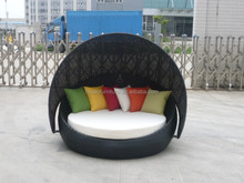 Black fashion furniture rattan outdoor/garden sofa with canopy
