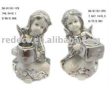Electroplated porcelain cherub ornament
