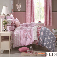 King size luxury wedding bedroom set cartoon dog printed 3d bed cover comforter set 100% cotton bed sheet korean bedroom set