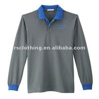 Mens Long Sleeve Cotton Sing Jersey Polo Shirt