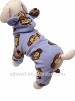 fleece cartoon animal printing dog jumpsuit/cute pet pajamas
