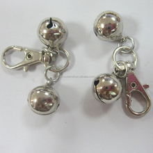 Wholesales two metal small jingle bell with snap hook