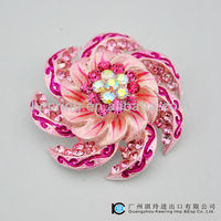 Wholesale rhinestone large magnetic flower brooches pin WBR-1174