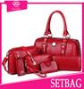 Hot! 2015 latest elegant brown beauty face 4pcs set bag women luxury designer purse and handbag lady wholesale leather handbags
