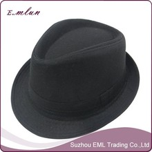 2015 fashion black cotton fedora hat