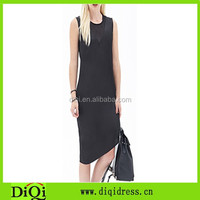 2015 high quality low price women dress black splicing mesh dress with asymmetrical hem