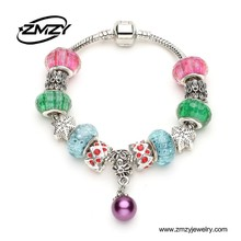 Fashion NEW Arrival Gift European Pearl Charm Bracelet With Colorful Murano Glass Beads DIY Jewellery For Girls