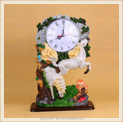 Factory Price Animal Shaped Alarm Clock Resin White Horse Antique Table Clock, Cheap Table Clocks for sale