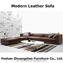 Living Room Leather Furniture Modern Sofa, brown leather sofa for house furniture P907