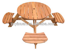 4 Seater Round Pub Garden Bench / wooden picnic table set with central reserved hole / wooden kids table and chairs