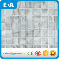 30x30mm White Square Printed Pattern Glass Tile Glazed Mosaic