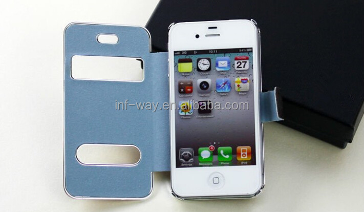 black double window slide PU leather case for iphone 4s
