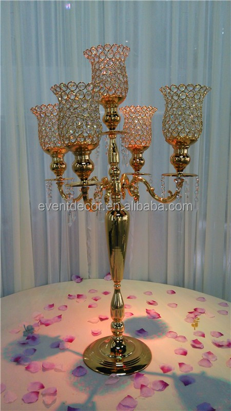 Gold candelabra centerpiece wedding crystal