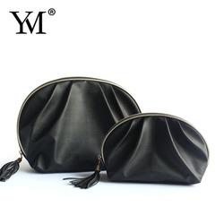 Fashion ladies elegant black PU custom cosmetic bag