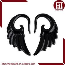 HT Hot Sale Angel Wings Black UV Acrylic Piercing Body Jewelry Spiral Swirl Plugs Ear Stretcher Expander Tapers
