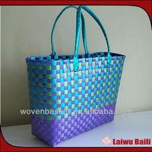 handmade colorful shiny PP woven storage bag