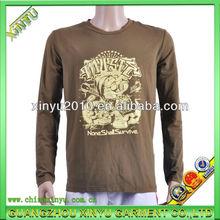Popular men's gold printing long t shirt for high quality cotton