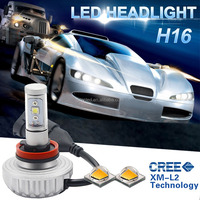 Free Shipping No Fan Five Colors Replacing HID and Halogen 2200lm H16 20W LED Car Headlamp