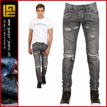 Intentionally bleached vintaged destroyed man denim jeans manufacturer rips denim jeans custom biker denim jeans(GYY0337)