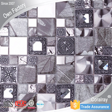 2015 NEW Decorative Glass Mix Stainless Steel Metal mosaic wall tile XF901