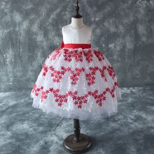 2~12Y shijp98 red lace flower girl dresses ball gowns for children