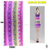 printed polyester various colors rainbow pleated chiffon fabric