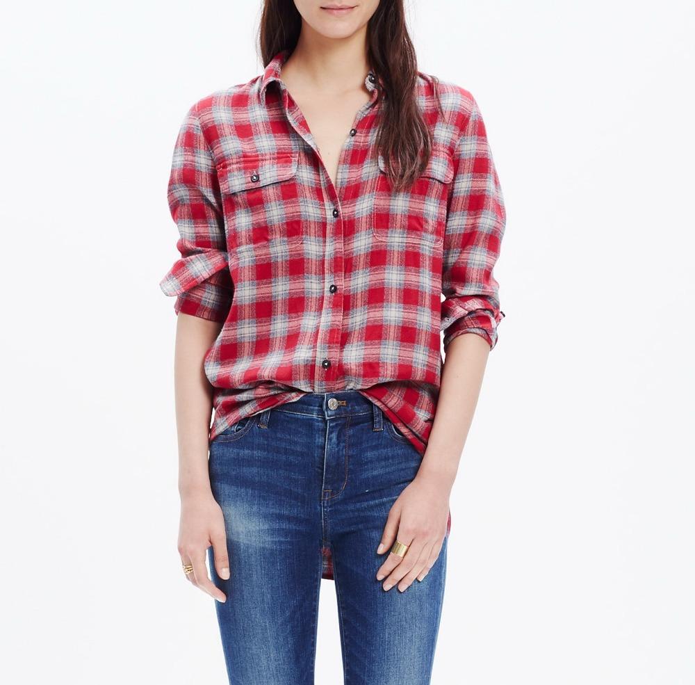 Custom design wholesale red plaid print women oversized for Oversized red plaid shirt