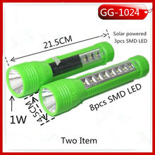 NEW design solar and rechargeable 2 way power supply led flashlight