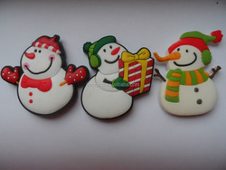 cute snow man rubber pvc fridge magnet for Christmas gifts, Christmas holiday home decoration snow man fridge magnet