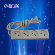 New arrival eu standard 4 way power extension cord socket with switch plug and socket