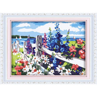 2015 High quality beautiful flower oil painting acrylic paint by number 30*40cm