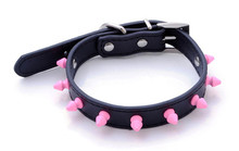 Wholesale Rubber Rivets Pitbull Spiked Leather Dog Collar