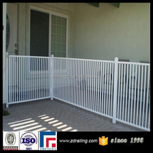 white color galvanized steel fence panels, porch railing, palisade fence