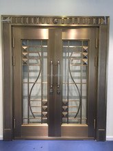 glass inserts glazed copper door good quality steel security door