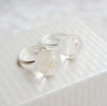 Handmade dandelion flower ball shape natural dry flower ring