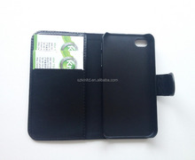 Hot Selling Pu Leather Mobile Phone Stand Flip Case for Apple iPhone 4/4S