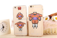 2015 New Hot Cartoon Movie Transparent TPU Phone Back Cover BigHero 6 Baymax Catoon Image Phone Case For Iphone 6